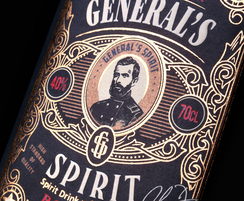 Bourbon label design - General's Spirit