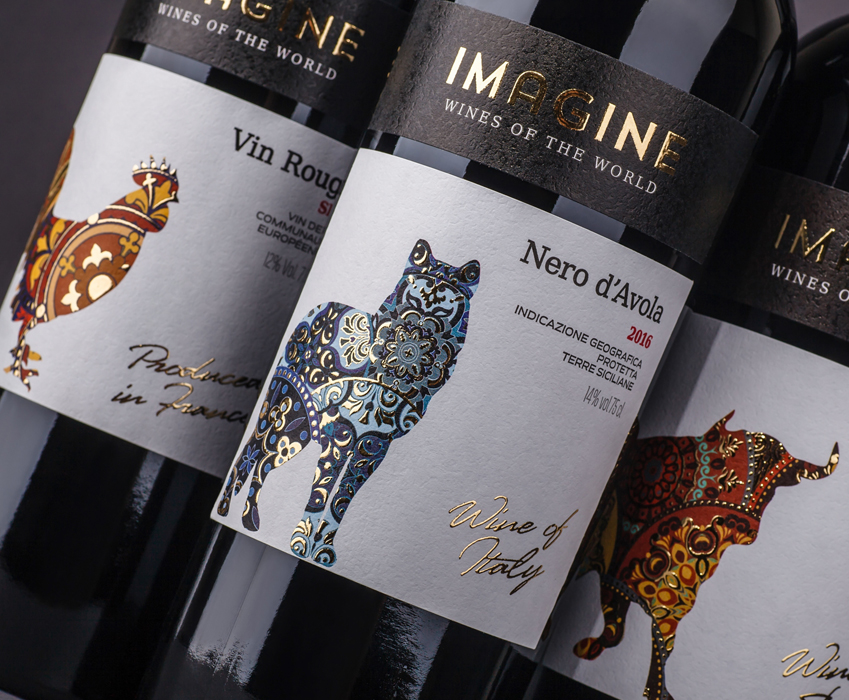 Label design development for series of quality wines «Imagine»