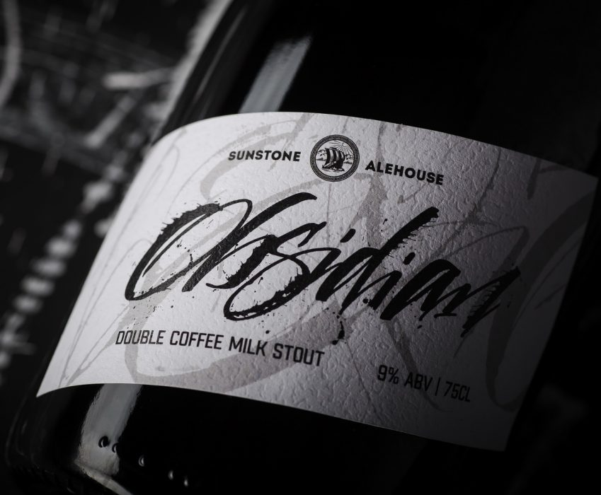 Calligraphic Craft Beer Label - Obsidian