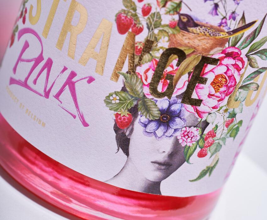 Craft Gin Label Design - Strange Luve Pink